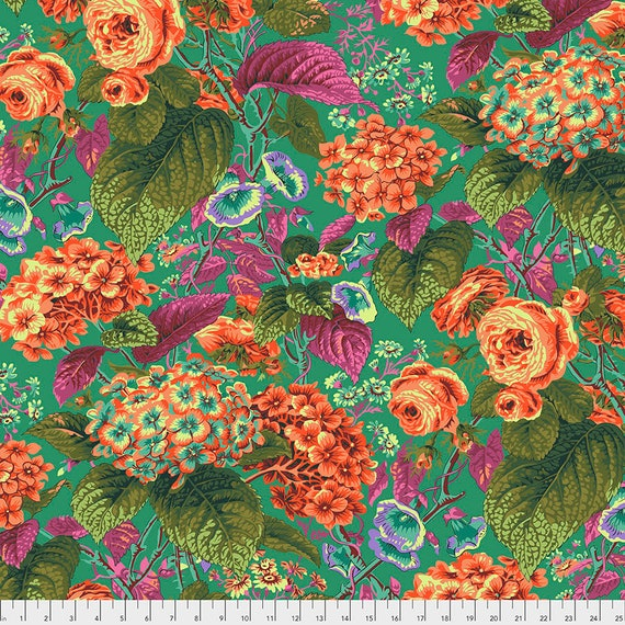 ROSE AND HYDRANGEA Green pwpj097 Philip Jacobs Kaffe Fassett Collective -  1/2 yd - Multiples cut continuously - Multiples cut as one