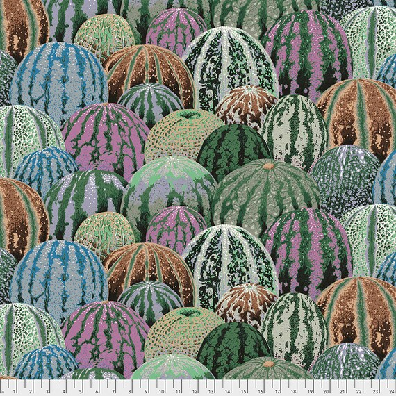 WATERMELONS GRAY Grey Philip Jacobs Kaffe Fassett Collective - Sold in 1/2 yd units - Multiples cut as one length