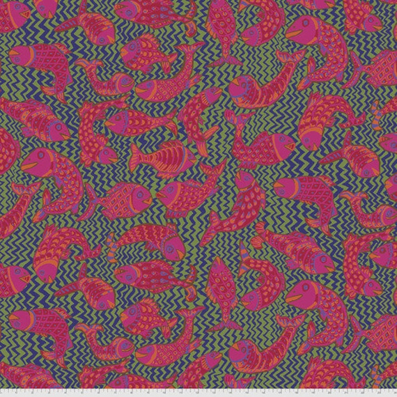 KOI POLLOI GREEN Brandon Mably Kaffe Fassett Collective - Sold in 1/2 yd increments - Multiples cut continuous