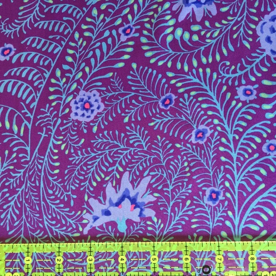 FERNS PURPLE GP147 Kaffe Fassett Collective -  1/2 yd - Multiples cut as one length - Multiple units cut as one  - USA based retailer