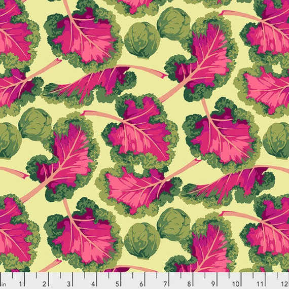 KALE BRIGHT PWMN007  by Martha Negley  Sold in 1/2 yd increments - Multiples cut continuously