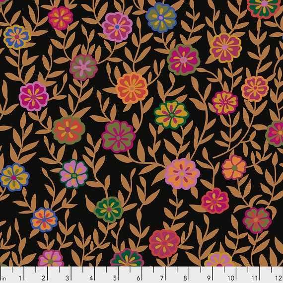BUSY LIZZIE Black PWGP175 Kaffe Fassett -  1/2 yd - Multiples cut one length  - USA based retailer