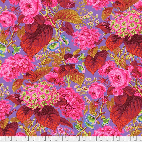 Pre-Order - ROSE AND HYDRANGEA Hot Pink Red pwpj097 Philip Jacobs Kaffe Fassett Collective - Sold in 1/2 yd increments - Multiples cuts one