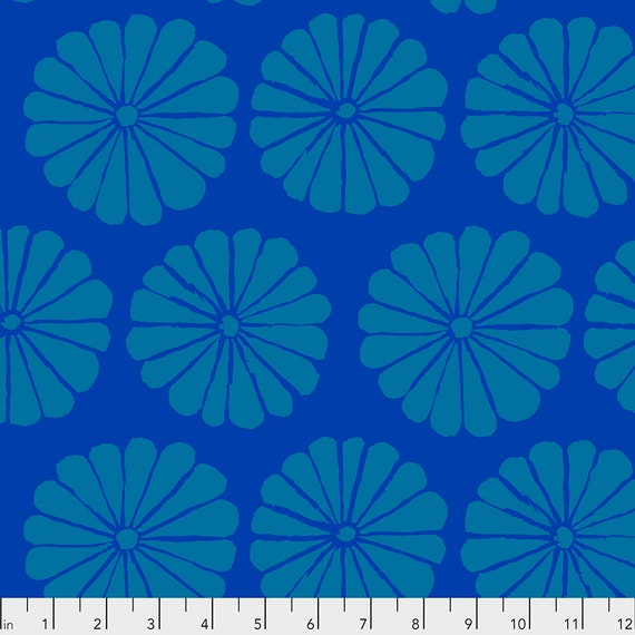 DAMASK FLOWER Blue pwgp183 - Kaffe Fassett Collective  Sold in 1/2 yd increments