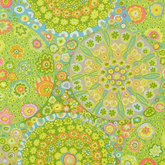 MILLEFIORE GP92 GREEN  GP92 Kaffe Fassett  1/2 yd - Multiples cut as one length  - USA based retailer