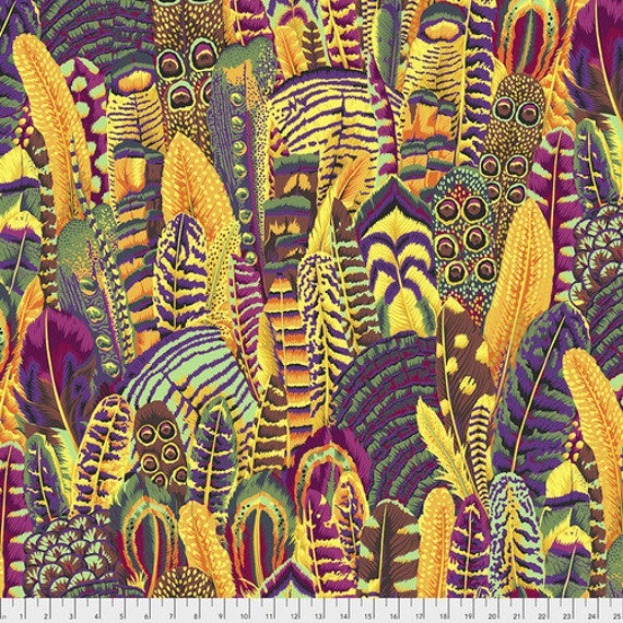 FEATHERS GOLD PWPJ055 Philip Jacobs Kaffe Fassett Collective  1/2 yd - Multiples cut continuously
