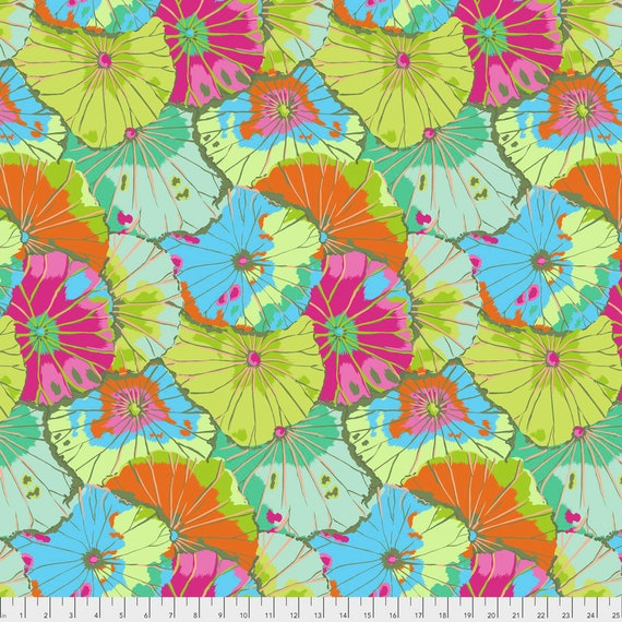 1/2 yd LOTUS LEAF Lime Kaffe Fassett - Sold in 1/2 yd increments - Multiple units cut as one length