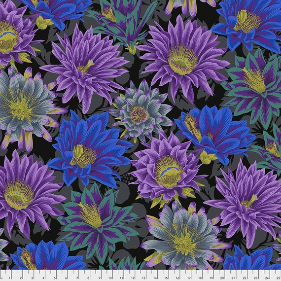 CACTUS FLOWER BLACK Philip Jacobs Kaffe Fassett Collective -  1/2 yd - Multiples cut as one length - Multiples cut in one length