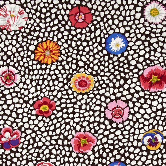 GUINEA FLOWER WHITE with dark brown  Kaffe Fassett - Sold in 1/2 yd increments - Multiple units cut as one length
