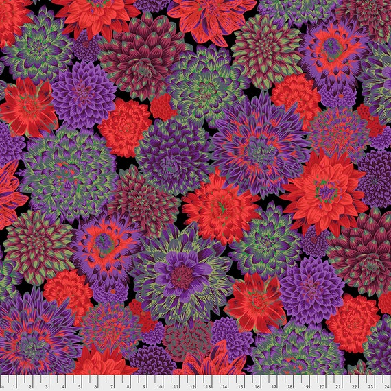 Pre-Order - Read Info! DANCING DAHLIAS DARK Philip Jacobs Kaffe Fassett Collective - Sold in 1/2 yd increments - Multiples cut as one length