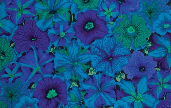 PETUNIAS BLUE PJ50 Philip Jacobs for Kaffe Fassett  1/2 yd - Multiples cut continuously