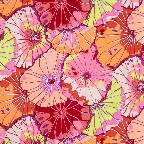 LOTUS LEAF Red GP29 Kaffe Fassett fabric sold in 1/2 yd increments