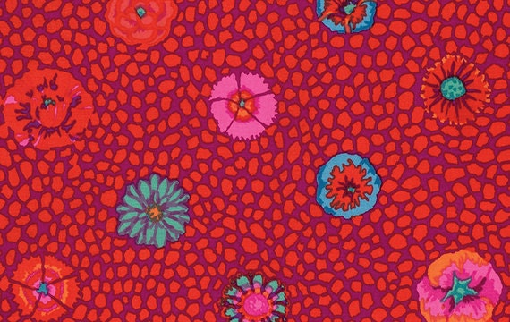 GUINEA FLOWER RED   Kaffe Fassett Collective   1/2 yd - Multiples cut as one length