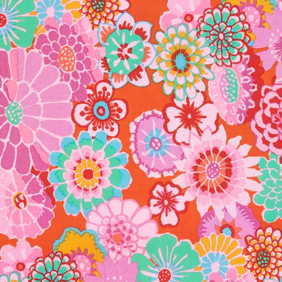 ASIAN CIRCLES  Tomato red GP89 Kaffe Fassett   1/2 yd - Multiples cut as one length  - USA based retailer