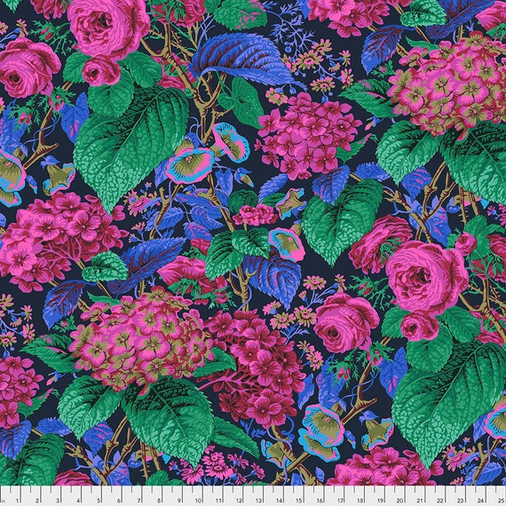 Pre-Order - ROSE AND HYDRANGEA Navy  pwpj097 Philip Jacobs Kaffe Fassett Collective - Sold in 1/2 yd increments - Multiples cut as one