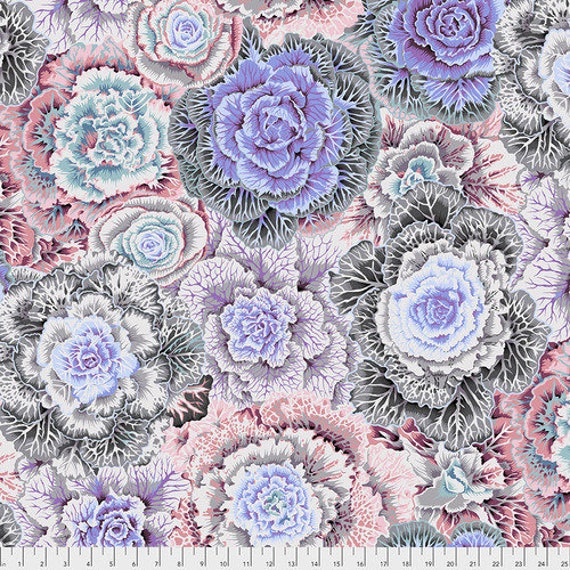 BRASSICA WHITE PWPJ051 Philip Jacobs Kaffe Fassett Collective  1/2 yd - Multiples cut continuously