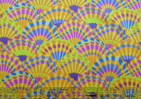 PAPER FANS YELLOW Kaffe Fassett Collective  1/2 yd - Multiples cut as one length