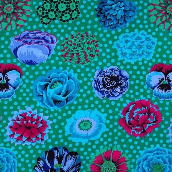 BIG BLOOMS Emerald GP91 Kaffe Fassett  1/2 yd - Multiples cut continuously