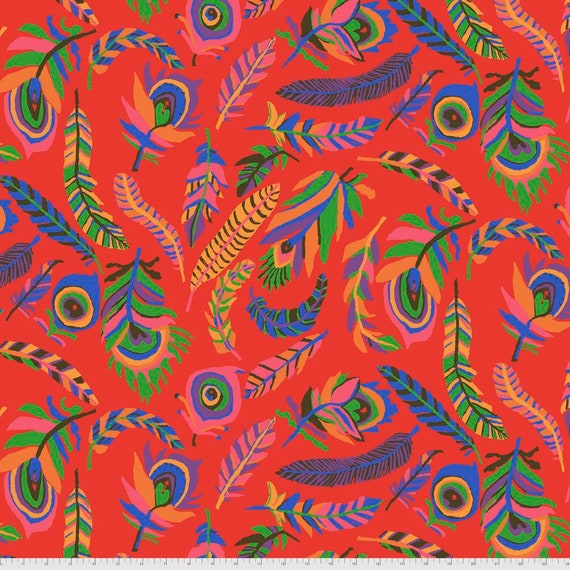 TICKLE My FANCY RED Brandon Mably Kaffe Fassett Collective  - Sold in 1/2 yd increments  - Multiples cut continuous
