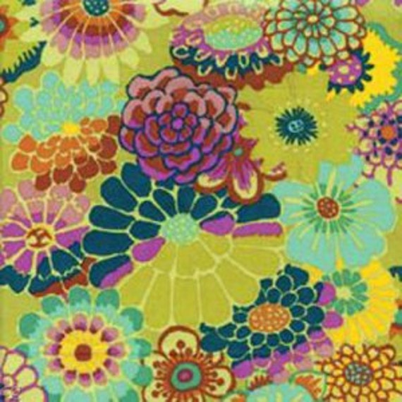ASIAN CIRCLES Chartreuse GP89 Kaffe Fassett  1/2 yd - Multiples cut continuously