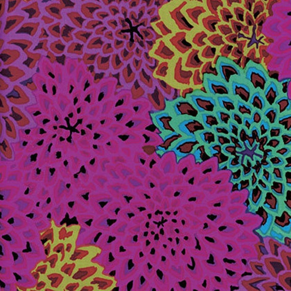 DAHLIA BLOOMS Figg Kaffe Fassett GP54.figg OOP Sold in 1/2 yd increments