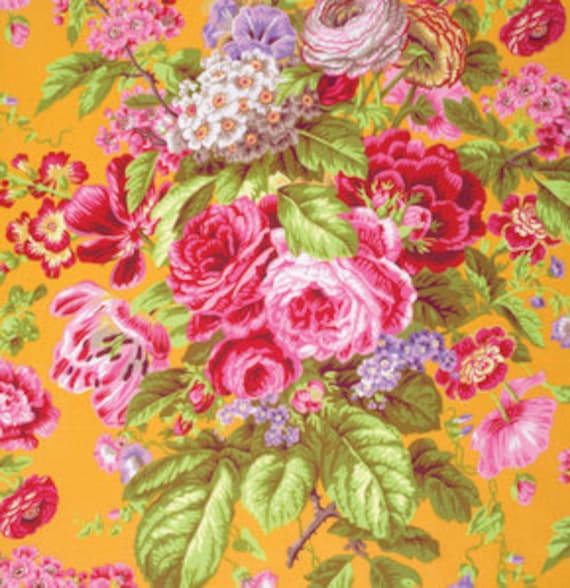 FLORAL DELIGHT YELLOW PJ075 by Philip Jacobs for Kaffe Fassett Collective Sold in 1/2 yd increments