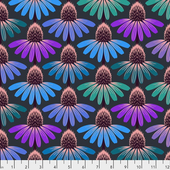 ECHINACEA GLOW - Amethyst - Anna Maria Horner - Sold in 1/2 yd increments  - Multiples cut as one length  - USA based retailer
