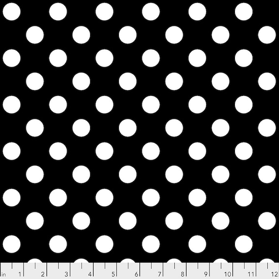 POM POMS INK - Black with white spots - Linework - Tula Pink  pwtp118.ink- Sold in 1/2 yd increments - Multiples cut as one length