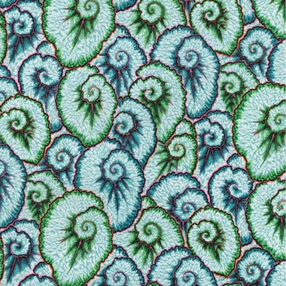 CURLIQUE GREEN PWPJ087 Philip Jacobs for Kaffe Fassett Collective Sold in 1/2 yd increments