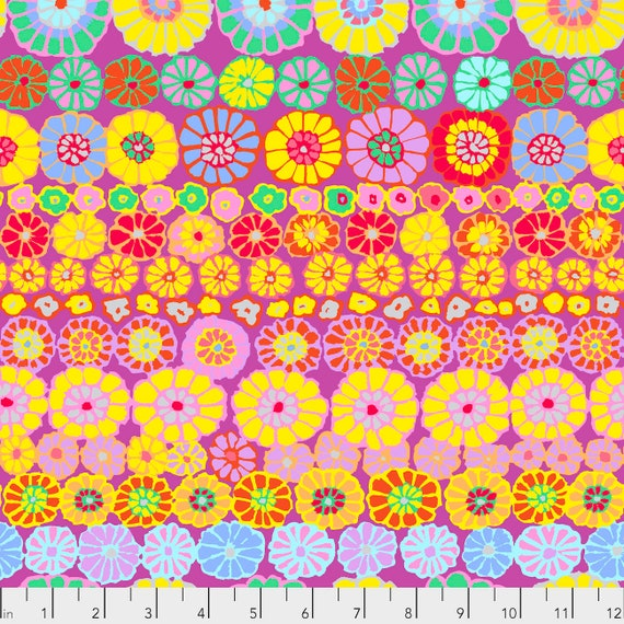 ROW FLOWERS PINK Kaffe Fassett PWGP169 Sold in 1/2 yd increments