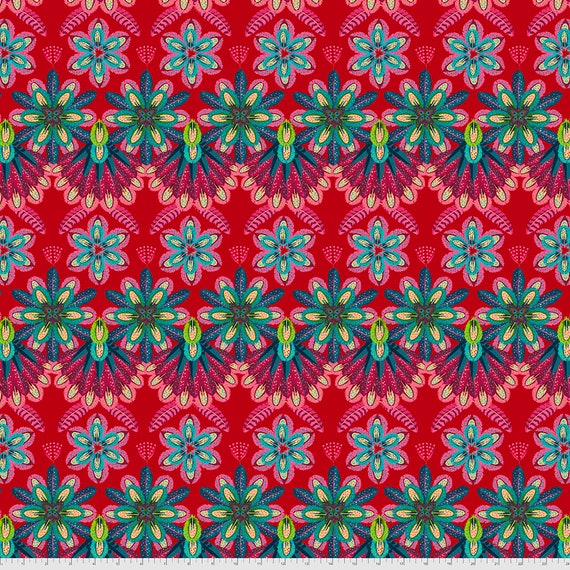 PREORDER June/July delivery PLUMETTES ROUGE - Magicountry by Odile Baileou - Sold in 1/2 yd increments - Multiple units cut one length