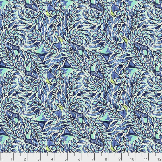1/2 yd STING RAY Aquamarine Blue ZUMA Tula Pink - Multiple units cut as one length