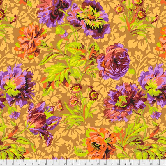 BAROQUE FLORAL Brown Philip Jacobs PWPJ090 Kaffe Fassett Collective Sold in 1/2 yd increments - Multiples cut as one length
