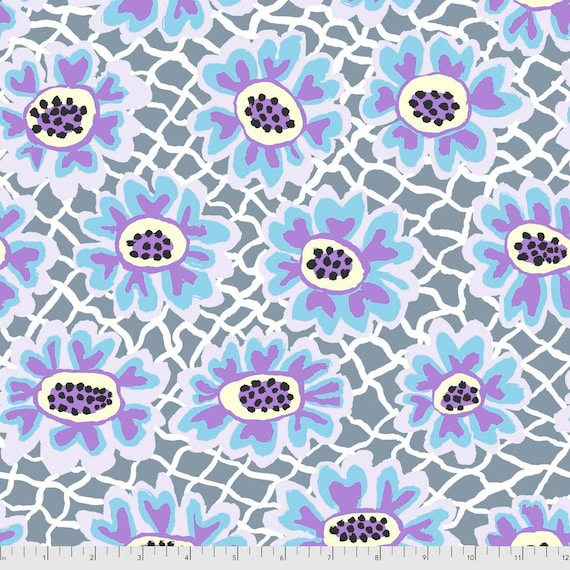 Pre-Order on Separate Order! FLOWER NET GREY Brandon Mably Kaffe Fassett Collective Sold in 1/2yd units - Multiples cut continuous