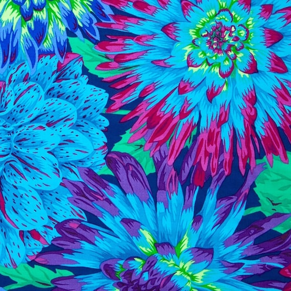CACTUS DAHLIA  Blue PJ54 Philip Jacobs Kaffe Fassett Collectives  1/2 yd - Multiples cut continuously