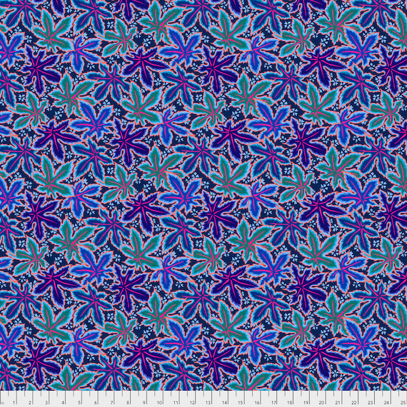 LACY LEAF Blue Philip Jacobs PWPJ0093.BLUEX Kaffe Fassett Collective Sold in 1/2 yd increments