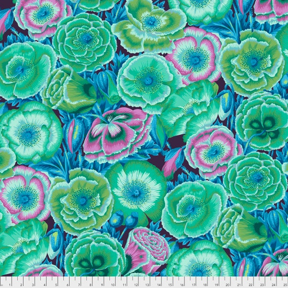 Poppy Garden Green PWPJ095.GREEN Philip Jacobs Kaffe Fassett Collective Sold in 1/2 yd increments