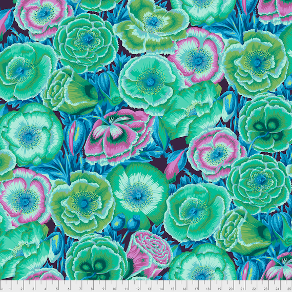 Poppy Garden Green PWPJ095.GREEN Philip Jacobs Kaffe Fassett Collective  1/2 yd - Multiples cut as one length  - USA based retailer