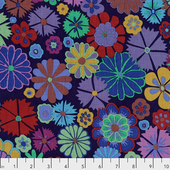 FOLK FLOWER PURPLE - Artisan - Kaffe Fassett Sold in 1/2 yd increments - Multiples cut in one length