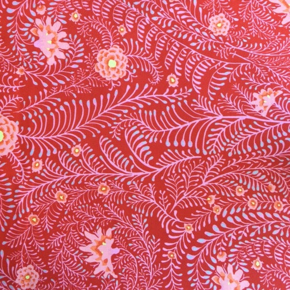 FERNS RED Per 1/2 yd  GP147 Fall 2014  Kaffe20 Fassett Fabric sold in 1/2 yd increments