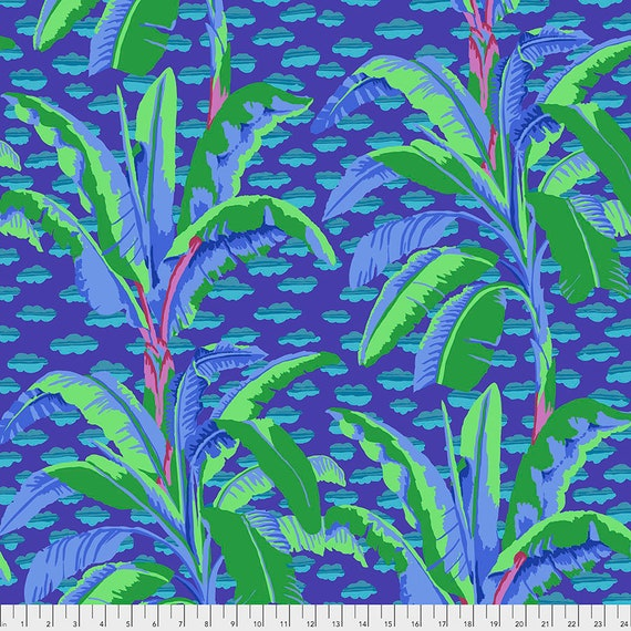 BANANA TREE Purple pwgp179 - Kaffe Fassett Collective  Sold in 1/2 yd increments
