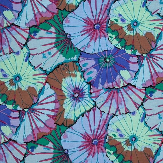 LOTUS LEAF  in Blue GP29   Kaffe Fassett sold in 1/2 yd increments