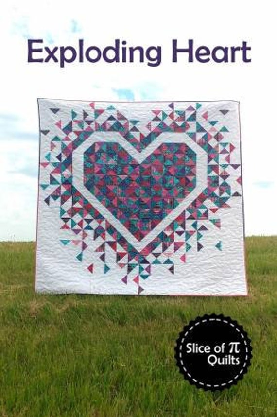 """EXPLODING HEART - Pattern only - Size 72"""" x 72"""" - Designed by Slice of Quilts"""