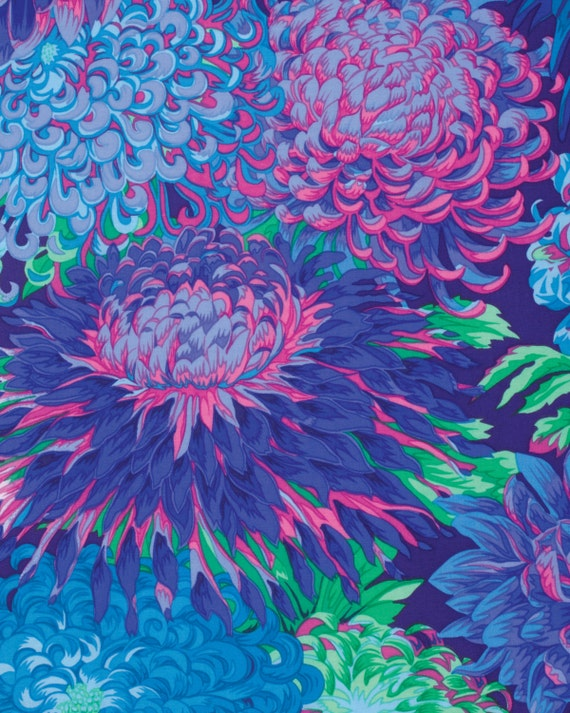 JAPANESE CHRYSANTHEMUM BLUE Fall 2015 Philip Jacobs for Kaffe Fassett Collective Sold in 1/2 yd increments