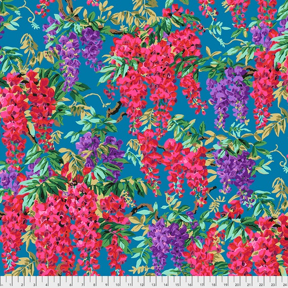 WISTERIA TEAL Blue August 2020 Philip Jacobs - Kaffe Fassett Collective - Sold in 1/2 yd units - Multiples cut as one length
