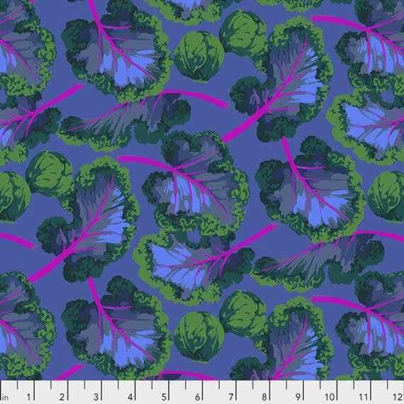 KALE DARK Purple  by Martha Negley - Sold in 1/2 yd increments - Multiples cut continuously