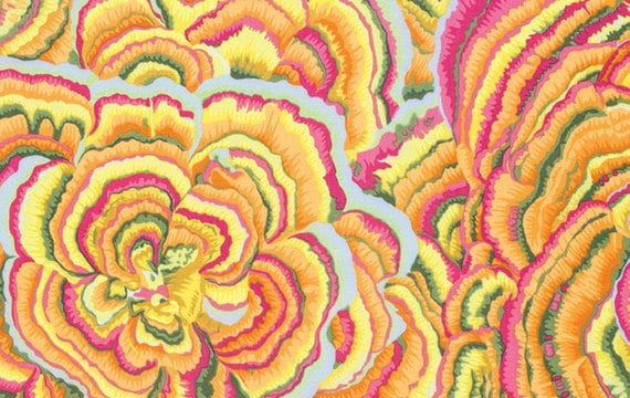 TREE FUNGI Yellow PJ082 by Philip Jacobs for Kaffe Fassett Collective Sold in 1/2 yd increments