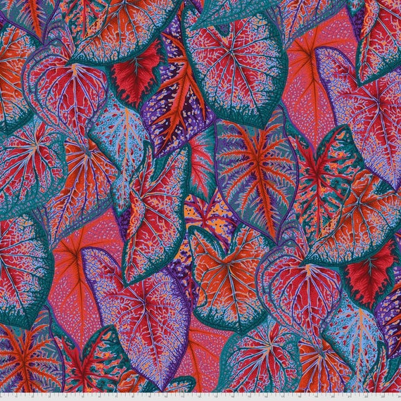 Pre-Order on Separate Order! CALADIUMS RED Philip Jacobs Kaffe Fassett Collective - Sold in 1/2yd units - Multiples cut continuous