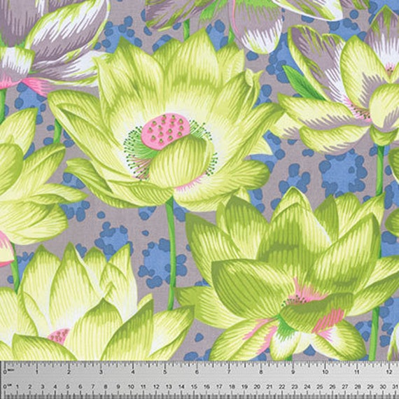 LEOPARD LOTUS Grey  Philip Jacobs Kaffe Fassett Collective Sold in 1/2 yd increments