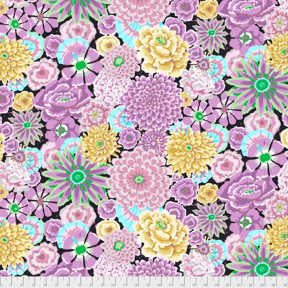 ENCHANTED GREY Gray Kaffe Fassett PWGP172  1/2 yd - Multiples cut continuously